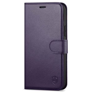 SHIELDON iPhone 12 Pro Max Wallet Case, Genuine Leather Folio Cover with Kickstand and Magnetic Closure for iPhone 12 Pro Max 6.7-inch 5G Dark Purple