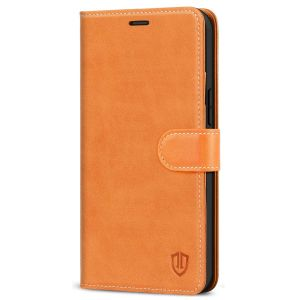 SHIELDON iPhone 13 Mini Genuine Leather Case, iPhone 13 Mini Wallet Cover with Magnetic Clasp Closure - Brown