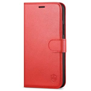 SHIELDON iPhone 13 Mini Genuine Leather Case, iPhone 13 Mini Wallet Cover with Magnetic Clasp Closure - Red