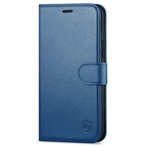 SHIELDON iPhone 13 Pro Max Wallet Case, iPhone 13 Pro Max Genuine Leather Cover with Magnetic Clasp Closure - Royal Blue