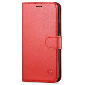 SHIELDON iPhone 13 Pro Max Wallet Case, iPhone 13 Pro Max Genuine Leather Cover with Magnetic Clasp Closure - Red