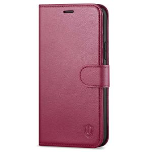 SHIELDON iPhone 13 Pro Max Wallet Case, iPhone 13 Pro Max Genuine Leather Cover with Magnetic Clasp Closure - Red Violet