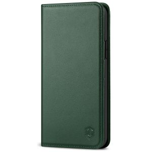 SHIELDON iPhone 13 Pro Wallet Case, iPhone 13 Pro Genuine Leather Cover with Magnetic Closure - Midnight Green