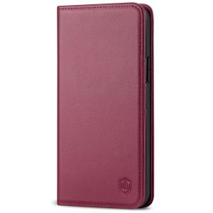 SHIELDON iPhone 13 Pro Wallet Case, iPhone 13 Pro Genuine Leather Cover with Magnetic Closure - Red Violet