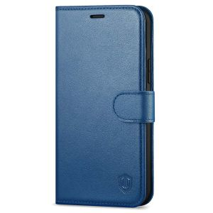 SHIELDON iPhone 13 Pro Wallet Case, iPhone 13 Pro Genuine Leather Cover with Magnetic Clasp - Royal Blue