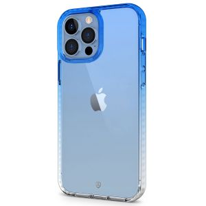 SHIELDON iPhone 13 Pro Max Clear Case Anti-Yellowing, Transparent Thin Slim Anti-Scratch Shockproof PC+TPU Case with Tempered Glass Screen Protector for iPhone 13 Pro Max 5G - Blue&Clear