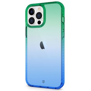 SHIELDON iPhone 13 Pro Max Clear Case Anti-Yellowing, Transparent Thin Slim Anti-Scratch Shockproof PC+TPU Case with Tempered Glass Screen Protector for iPhone 13 Pro Max 5G - Blue&Green