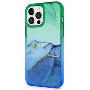 SHIELDON iPhone 13 Pro Max Clear Case Anti-Yellowing, Transparent Thin Slim Anti-Scratch Shockproof PC+TPU Case with Tempered Glass Screen Protector for iPhone 13 Pro Max 5G - Marble Blue