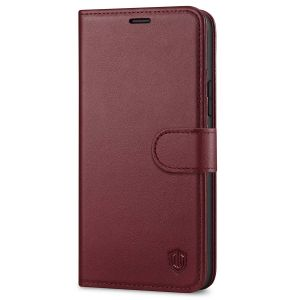 SHIELDON iPhone 12 Wallet Case, iPhone 12 Pro Wallet Cover, Genuine Leather Cover, RFID Blocking, Folio Flip Kickstand, Magnetic Closure for iPhone 12 / Pro 6.1-inch 5G Wine Red