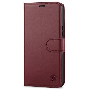 SHIELDON iPhone 12 Pro Max Wallet Case, Genuine Leather Folio Cover with Kickstand and Magnetic Closure for iPhone 12 Pro Max 6.7-inch 5G Wine Red