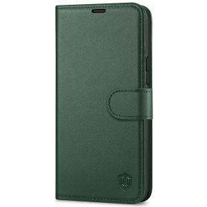 SHIELDON iPhone 13 Mini Genuine Leather Case, iPhone 13 Mini Wallet Cover with Magnetic Clasp Closure - Midnight Green