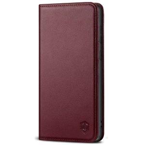 SHIELDON SAMSUNG GALAXY S20FE Folio Case Wallet Case, SAMSUNG GALAXY S20FE Genuine Leather Wallet Case - Wine Red