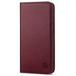 SHIELDON SAMSUNG S21 Wallet Case - SAMSUNG GALAXY S21 6.2-inch Folio Leather Case - Wine Red