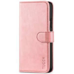 TUCCH iPhone 11 Pro Max Wallet Case for Men, iPhone 11 Pro Max Leather Cover with Magnetic Clasp - Rose Gold