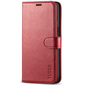 TUCCH iPhone 12 Mini 5.4-inch Flip Leather Wallet Case - Dark Red