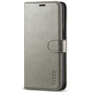 TUCCH iPhone 12 Mini 5.4-inch Flip Leather Wallet Case - Grey
