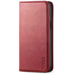 TUCCH iPhone 12 Mini Wallet Case, iPhone 12 Mini Flip Cover, Magnetic Closure Phone Case for Mini iPhone 12 5G 5.4-inch Dark Red