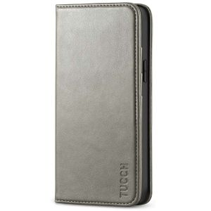 TUCCH iPhone 12 Mini Wallet Case, iPhone 12 Mini Flip Cover, Magnetic Closure Phone Case for Mini iPhone 12 5G 5.4-inch Grey