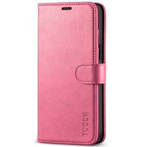 TUCCH iPhone 12 Pro Max Wallet Case, iPhone 12 Pro Max 6.7-inch Flip Case - Hot Pink