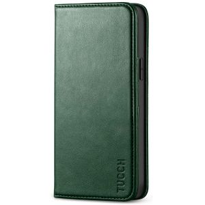 TUCCH iPhone 12 Wallet Case, iPhone 12 Pro Wallet Case, Flip Cover with Stand, Credit Card Slots, Magnetic Closure for iPhone 12 / Pro 6.1-inch 5G Midnight Green