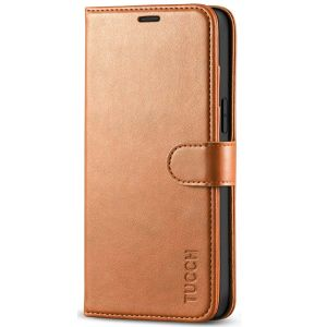 TUCCH iPhone 12 Pro Max Wallet Case, iPhone 12 Pro Max 6.7-inch Flip Case - Light Brown