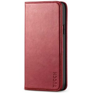 TUCCH iPhone 12 Pro Max Wallet Case, iPhone 12 Pro Max PU Leather Case, Flip Cover with Stand, Credit Card Slots, Magnetic Closure for iPhone 12 Pro Max 6.7-inch 5G Dark Red
