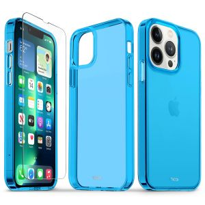 TUCCH iPhone 13 Pro Clear TPU Case Non-Yellowing, Transparent Thin Slim Scratchproof Shockproof TPU Case with Tempered Glass Screen Protector for iPhone 13 Pro 5G - Blue