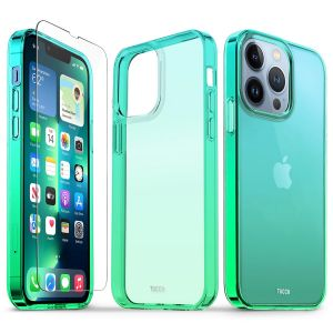 TUCCH iPhone 13 Pro Clear TPU Case Non-Yellowing, Transparent Thin Slim Scratchproof Shockproof TPU Case with Tempered Glass Screen Protector for iPhone 13 Pro 5G - Blue&Green