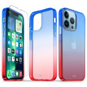 TUCCH iPhone 13 Pro Clear TPU Case Non-Yellowing, Transparent Thin Slim Scratchproof Shockproof TPU Case with Tempered Glass Screen Protector for iPhone 13 Pro 5G - Blue&Red