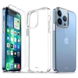 TUCCH iPhone 13 Pro Clear TPU Case Non-Yellowing, Transparent Thin Slim Scratchproof Shockproof TPU Case with Tempered Glass Screen Protector for iPhone 13 Pro 5G - Crystal Clear