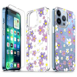 TUCCH iPhone 13 Pro Clear TPU Case Non-Yellowing, Transparent Thin Slim Scratchproof Shockproof TPU Case with Tempered Glass Screen Protector for iPhone 13 Pro 5G - Pink Purple Flowers