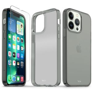 TUCCH iPhone 13 Pro Clear TPU Case Non-Yellowing, Transparent Thin Slim Scratchproof Shockproof TPU Case with Tempered Glass Screen Protector for iPhone 13 Pro 5G - Grey&Clear