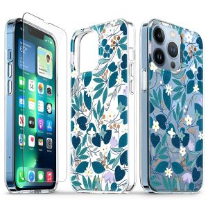 TUCCH iPhone 13 Pro Clear TPU Case Non-Yellowing, Transparent Thin Slim Scratchproof Shockproof TPU Case with Tempered Glass Screen Protector for iPhone 13 Pro 5G - Blue Flowers Leaves