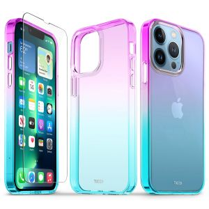 TUCCH iPhone 13 Pro Clear TPU Case Non-Yellowing, Transparent Thin Slim Scratchproof Shockproof TPU Case with Tempered Glass Screen Protector for iPhone 13 Pro 5G - Violet Blue