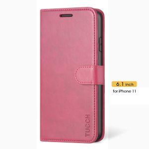 TUCCH iPhone 11 Hülle, TPU Schutzhülle, Lifetime Garantie, Handyhülle im Buchstil mit Aufstellfunktion Kartenfächern, Magnetisch Wallet Case Kompatibel für iPhone 11, 6,1 Zoll (2019), Rosa