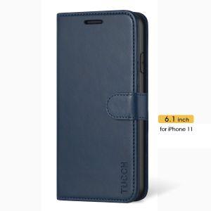 TUCCH iPhone 11 Geldbörsen Etui mit Magnet, iPhone 11 Ledertasche - Blau