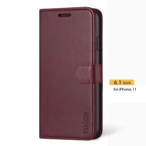 TUCCH iPhone 11 Geldbörse Etui mit Trageriemen, iPhone 11 Standetui mit Kartenhalter - Weinrot