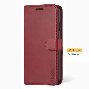 TUCCH iPhone 11 Hülle, iPhone 11 Case, Handyhülle mit 3 Kartenfächer, Schutzhülle mit Weichem TPU, Magnetische Klapphülle Ständer, Tasche Kompatibel für iPhone 11 6,1 Zoll (2019), Rot