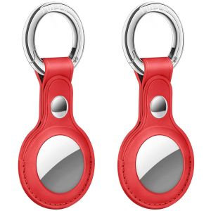 AirTag Tracker Holder Cover with Key Ring - PU Leather AirTag Cover Case Red-2 Pack