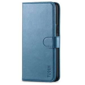 TUCCH iPhone XS Wallet Case, iPhone XS Leather Cover, Auto Sleep/Wake up, Magnet Clasp, Stand - Lake Blue