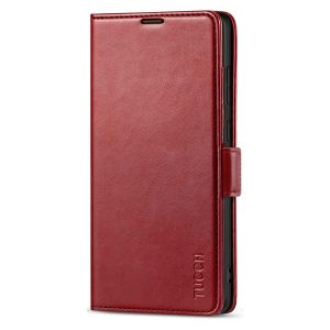 TUCCH SAMSUNG Galaxy Note20 Wallet Case, SAMSUNG Note20 5G Flip Cover Dual Clasp Tab-Dark Red